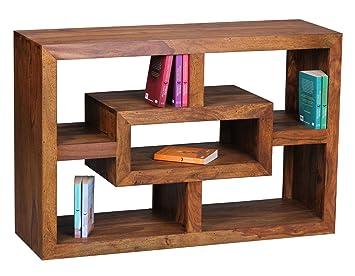 Finebuy Bucherregal Massiv Holz Sheesham 105 X 70 Cm Wohnzimmer Regal Ablagefacher Design Landhaus Stil Standregal Natur Produkt Wohnzimmermobel