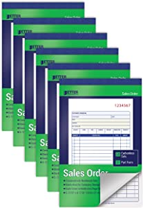Large Sales Order Books, 6 Pack, 2-Part Carbonless (White/Canary Yellow), 5-7/16 x 8-7/16 inches, by Better Office Products, 50 Sets per Book, 300 Total Sets, 6 Books