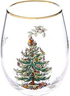 Amazon Com Spode Christmas Tree Glass Wine Goblet With Red