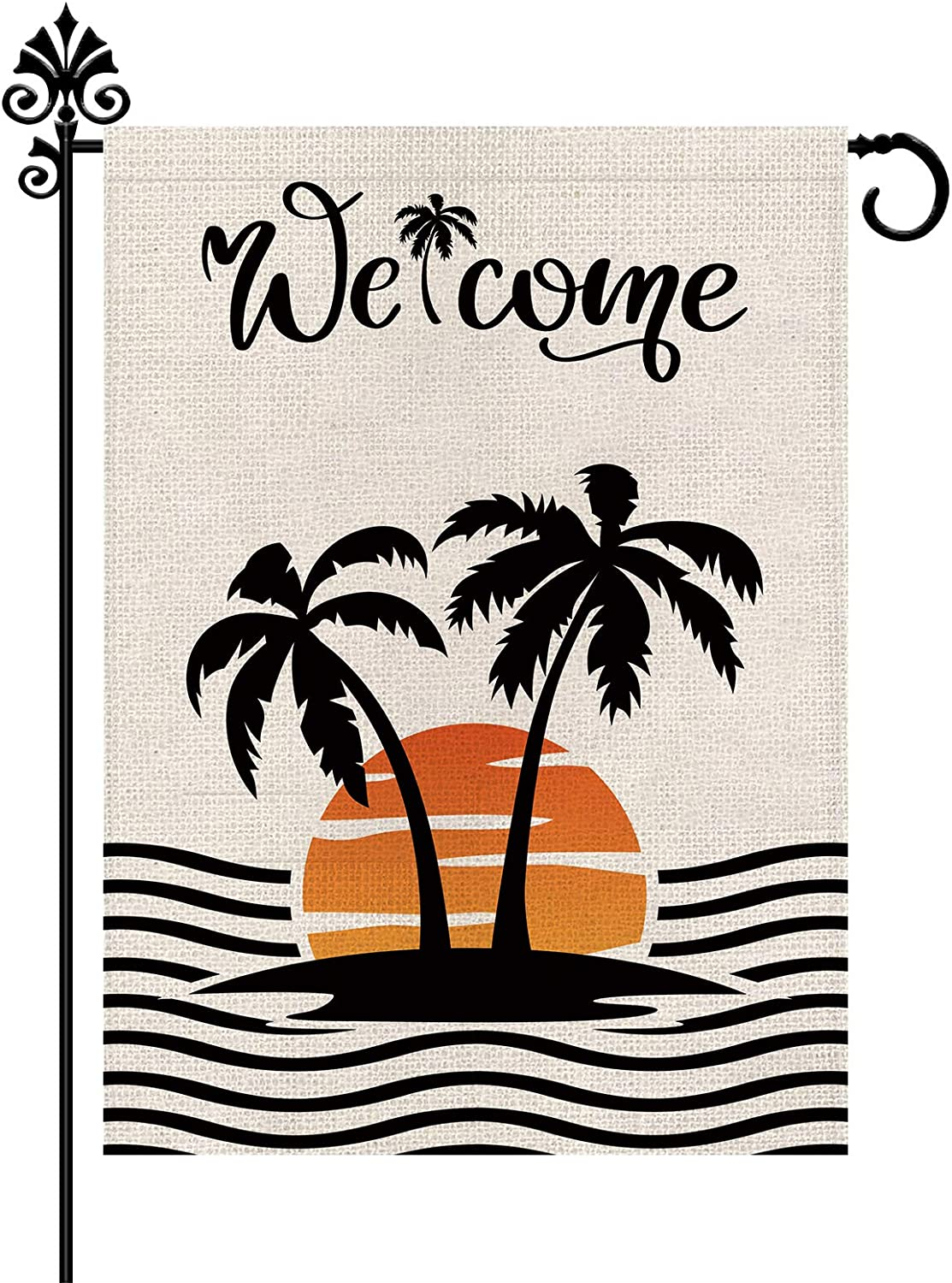 Summer Garden Flag Holiday Beach Outdoor Decorations Burlap Vertical Double Sided Welcome Yard Decor 12.5 x 18 Inch