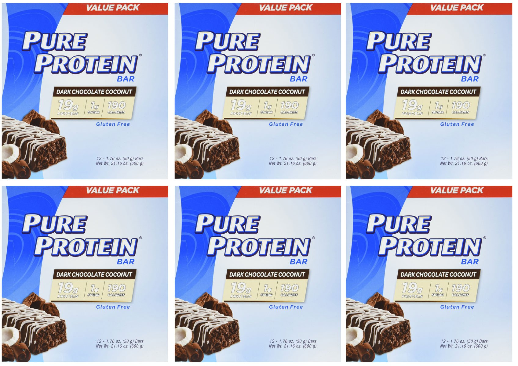 Pure Protein Dark Chocolate Coconut, 1.76oz, 6 Pack (12 Count)