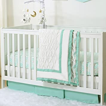 amazon com mint green feathers pleated 3 piece crib bedding set by
