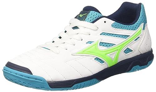 Mizuno Sala Classic 2 In, Zapatos de Futsal para Hombre, Multicolor (White/Greengecko/Peacockblue 35), 40.5 EU