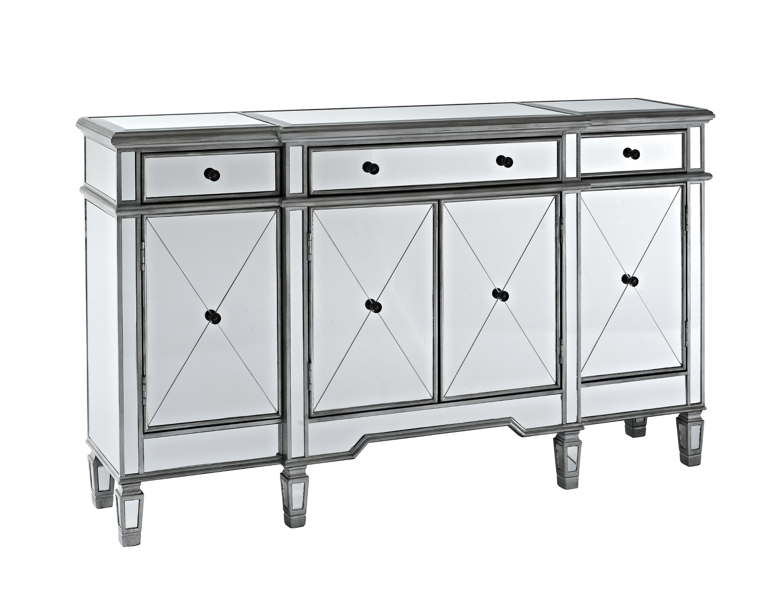 Powell Company Mirrored 4-Door 3-Drawer Console by Powell Company (Image #1)
