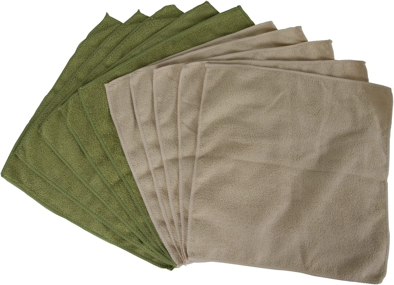 Evriholder Bamboo Naturals Greenery Collection Microfiber Towels, Lint Free Cleaning Cloths, Green & Tan, Pack of 10