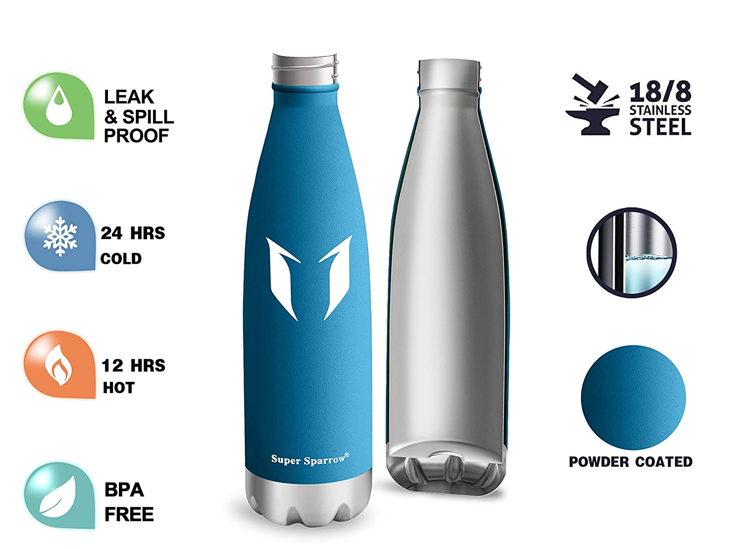Super Sparrow Vacuum Insulated Bottle Vacuum Flask Bottle ,Includes Straw Lid- BPA Free Sports Water Bottle 24 Hours Cold /& 12Hours Hot Vacuum Flask Bottle /,Includes Straw Lid- BPA Free Lavender-500ml Lavender-500ml