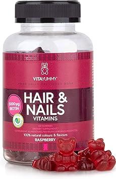 Vitayummy Biotina Vitamina Gomitas para el crecimiento del cabello y las uñas con color natural y sabor a bayas   Sin alérgenos, vegano y sin gelatina   60 gomitas 1 mes: Amazon.es: