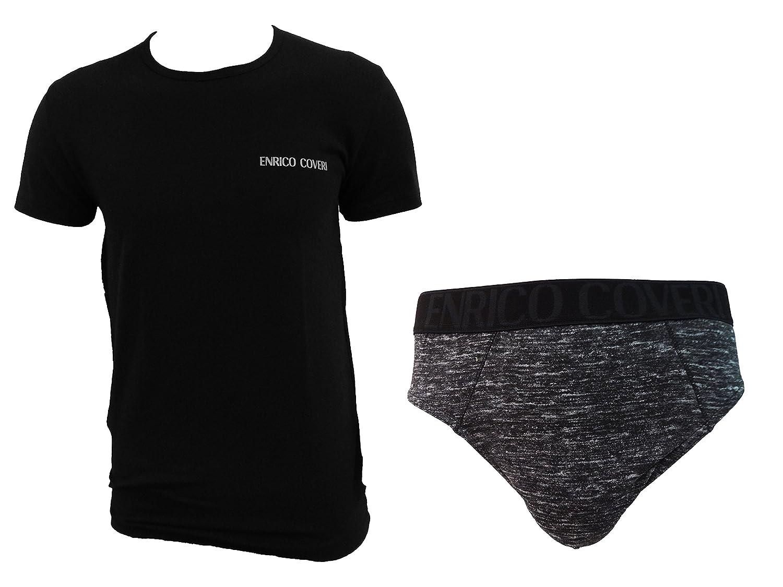 coordinato uomo slip + t-shirt girocollo cotone elasticizzato ENRICO COVERI art. EC1623/S