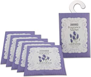 Awinro Lavender Scented Sachets, Drawer Closet Dresser Car Fragrant Bags, Closet Deodorizer, Moth Repellent, Fresh Fragrance Packets with Hanger, Set of 6 Packs