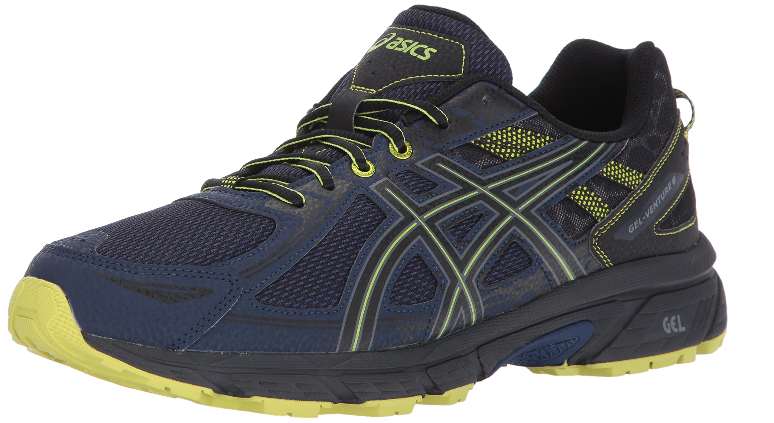 ASICS Mens Gel-Venture 6 Running Shoe, Indigo Blue/Black/Energy Green, 7 Medium US