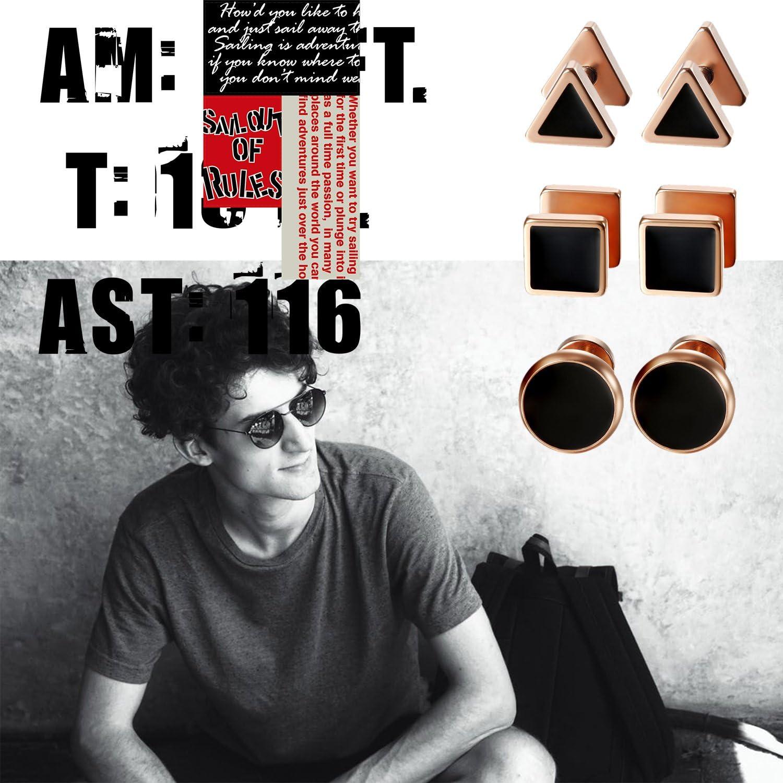 Aroncent Acier Inoxydable Boucles d/'Oreilles pour Homme Femme Triangle Rond Mat Perc/é Non-Piercing Clous Oreilles Noir Or Argent Fantaisie Bijoux Cadeau