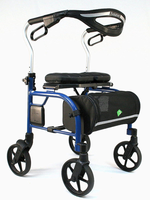 Evolution Trillium Lightweight Medical Walker Rollator with Seat, Large Wheels, Brakes, Backrest, Basket for Seniors Indoor Outdoor use (Tall, Chinatown Blue) 81Afj3MN0gL