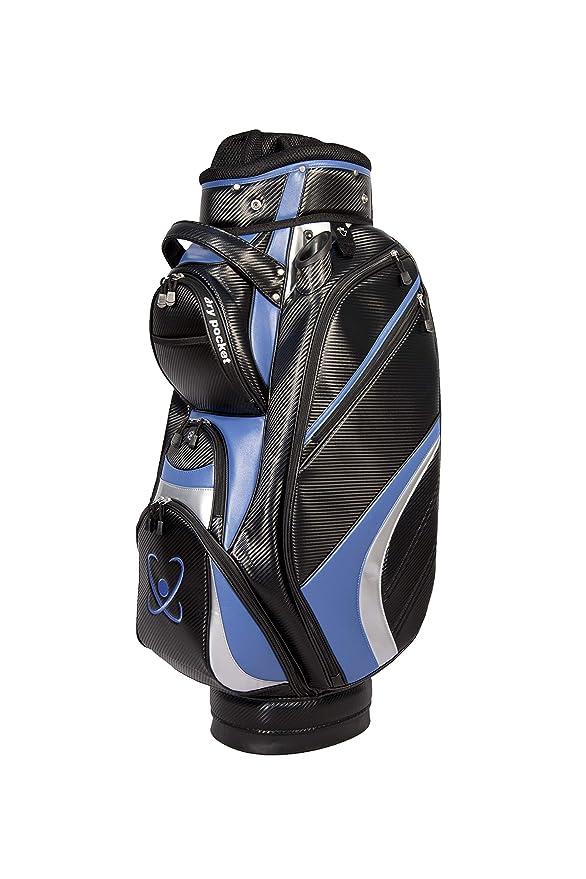 Bolsa de golf con motor, material impermeable con dry pocket, color negro y azul