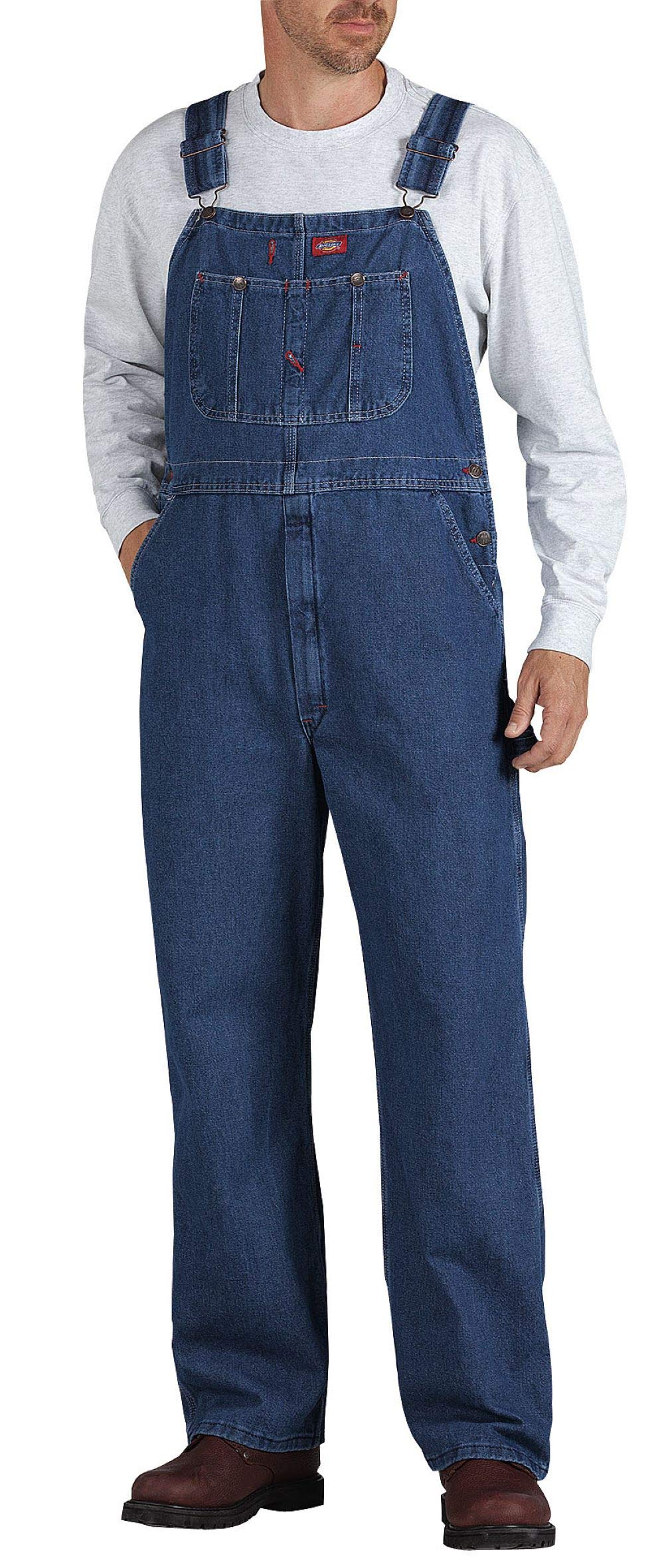Dickies Men's Denim Bib Overall, Stone Washed Indigo Blue, 34 x 30 by Dickies