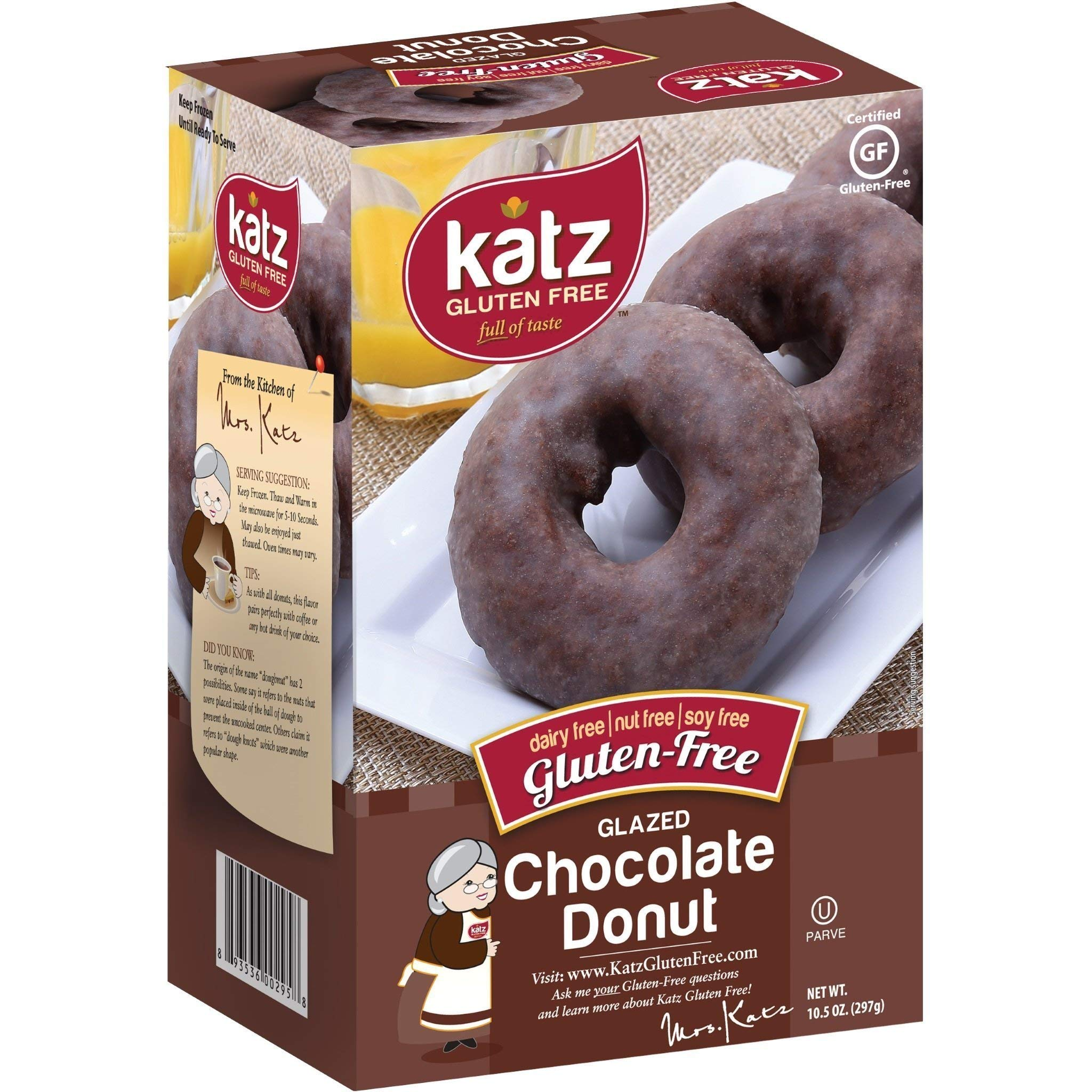 Katz Gluten Free Glazed Chocolate Donuts | Dairy, Nut, Soy and Gluten Free | Kosher (6 Packs of 6 Donuts, 10.5 Ounce Each) by Katz Gluten Free