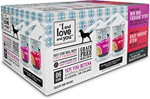 I and love and you Naked Essentials Wet Dog Food - Grain Free and Canned, Beef + Venison Variety Pack, 13-Ounce, Pack of 6 Cans