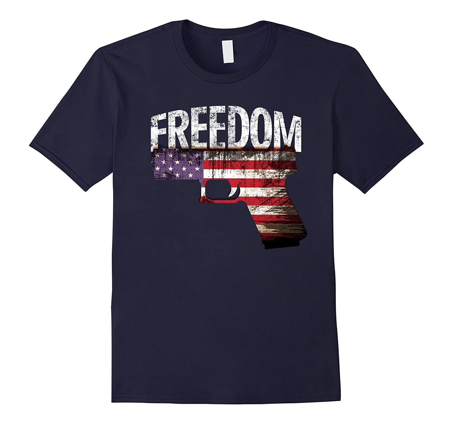 4th of July gun Patriotic USA Banner Flag Freedom Tee shirt-PL
