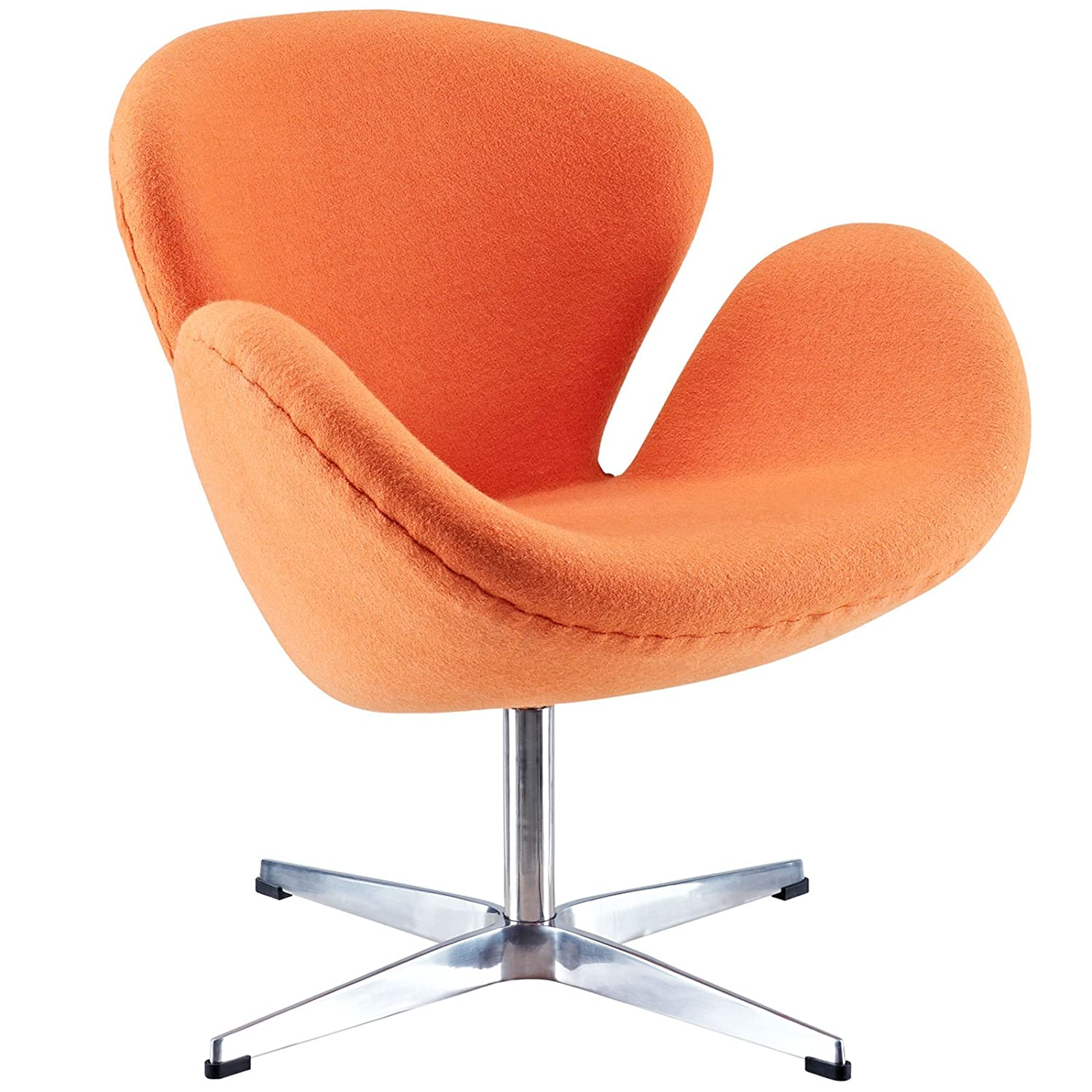 amazon com modway wing lounge chair in orange kitchen dining