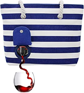 PortoVino Beach Wine Purse (Blue/White) - Beach Tote with Hidden, Insulated Compartment, Holds 2 Bottles of Wine! / Great Gift! / Happiness Guaranteed!