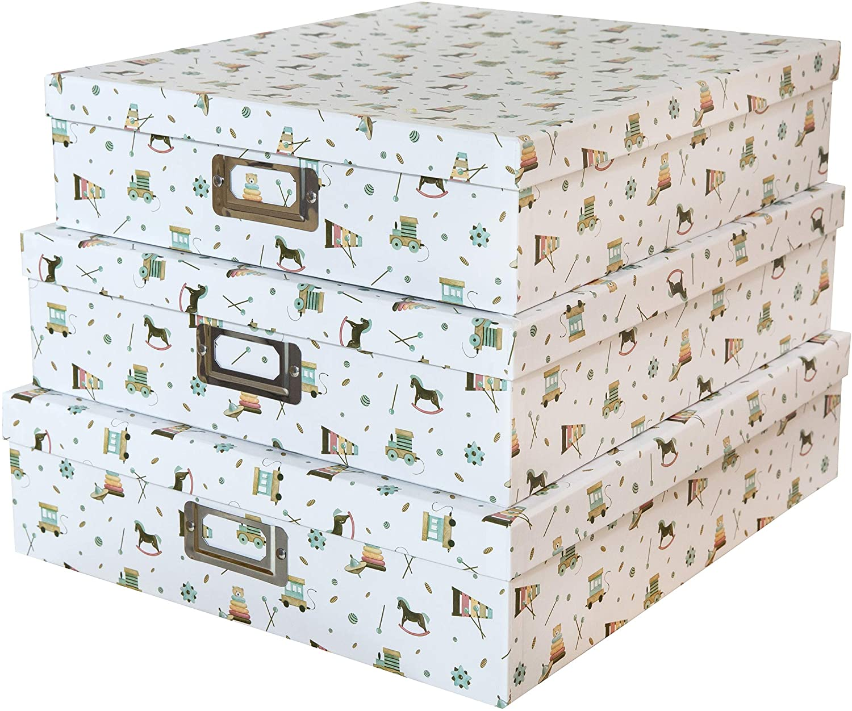 SLPR Almacenamiento decorativo Cajas de cartón para cuarto de niños Cuarto de niños (juego de 3, Oh bebé) | Cajas de regalo de anidamiento con tapa para recuerdos de fotos de juguetes de recuerdo