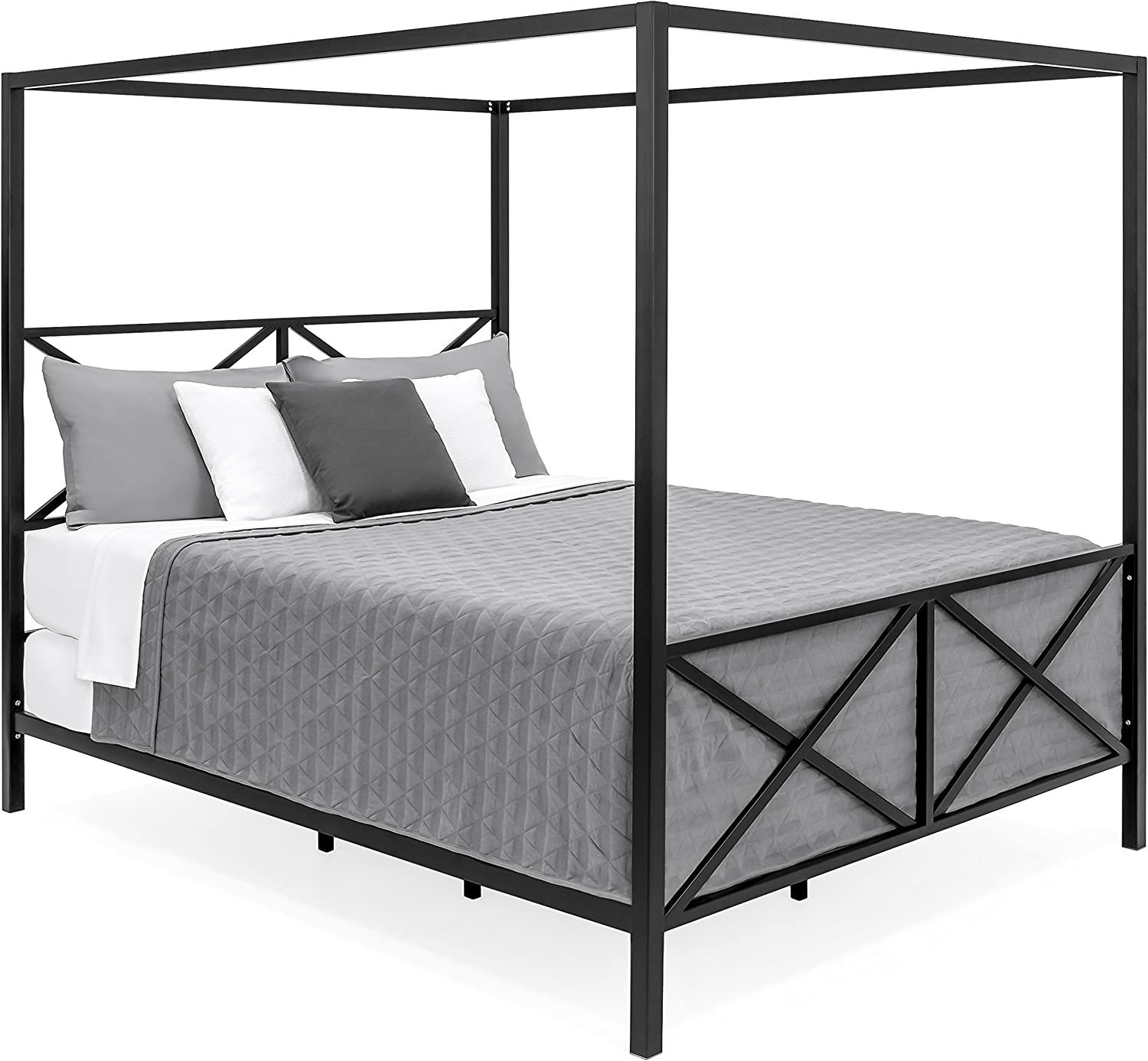 - Amazon.com: Best Choice Products Modern 4 Post Canopy Queen Bed W