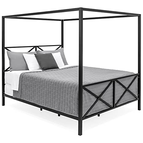 Best Choice Products Modern 4 Post Canopy Queen Bed w/Metal Frame, Mattress Support, Headboard, Footboard - Black