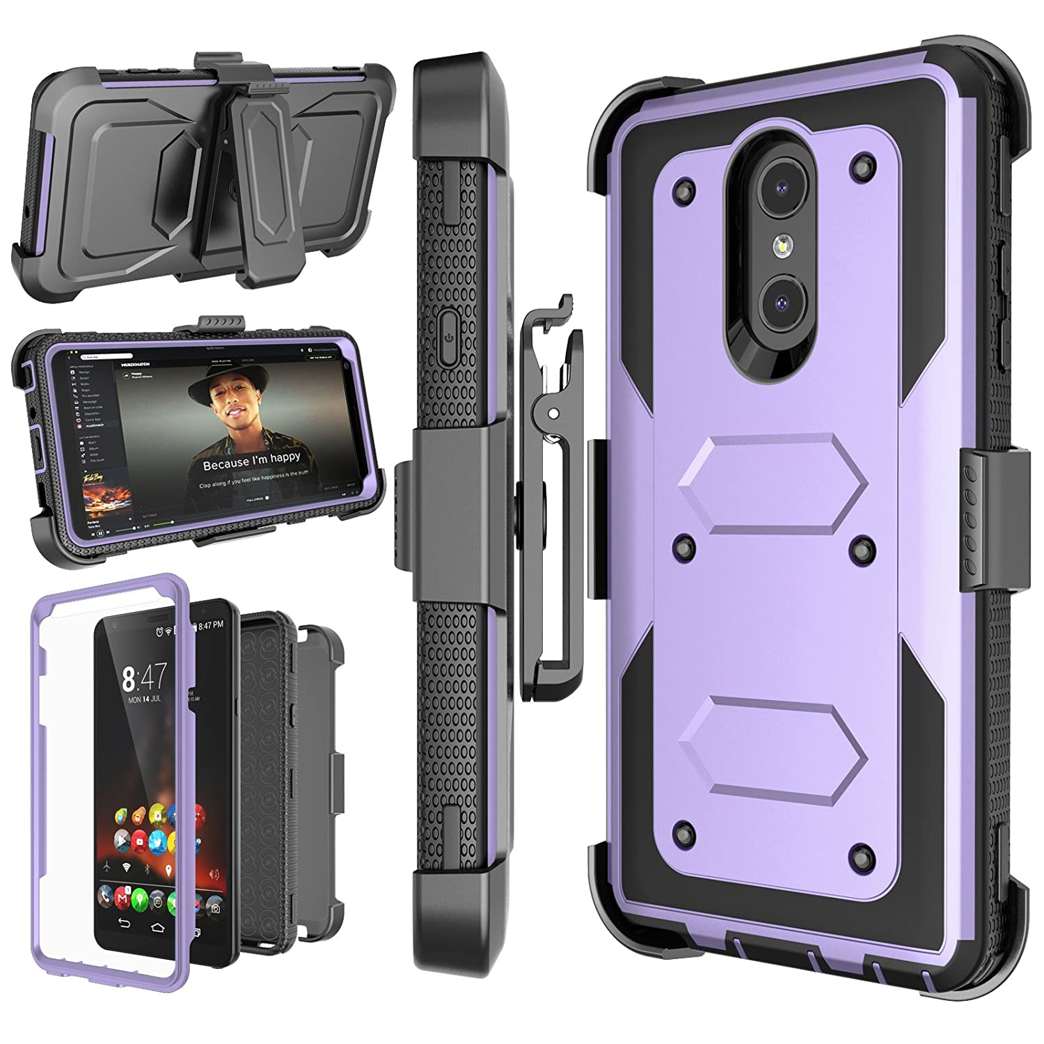 LG Stylo 4 Case, LG Q Stylus Holster Clip, Njjex [Nbeck] Shockproof Heavy Duty Built-in Screen Protector Rugged Locking Swivel Belt Clip Kickstand Hard Phone Cover For LG Styus 4/Stylo 4 Plus [Purple]