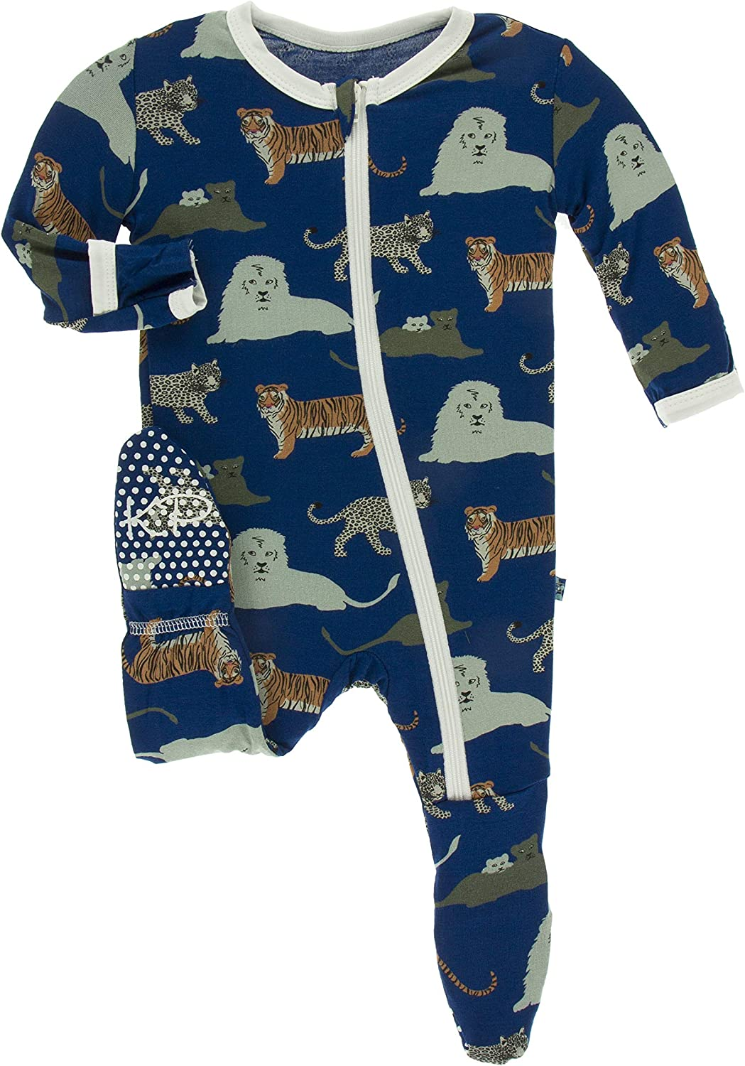 KicKee Pants Print Footie with Zipper (Flag Blue Big Cats - 0-3 Months)