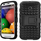 DMG Back Cover Case for Moto E, Rugged Kickstand Armor Case for Motorola Moto E XT1021 (Black)