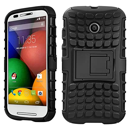 separation shoes d1c1f 092df DMG Back Cover Case for Moto E, Rugged Kickstand Armor Case for Motorola  Moto E XT1021 (Black)