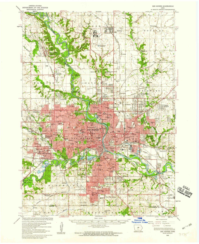 Amazon.com: YellowMaps Des Moines IA topo map, 1:62500 Scale ...