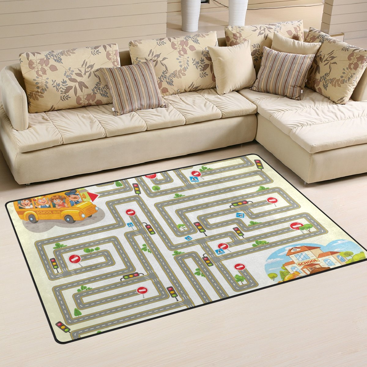 WellLee Area Rug,School Bus Transport Maze Game Floor Rug Non-slip Doormat for Living Dining Dorm Room Bedroom Decor 60x39 Inch