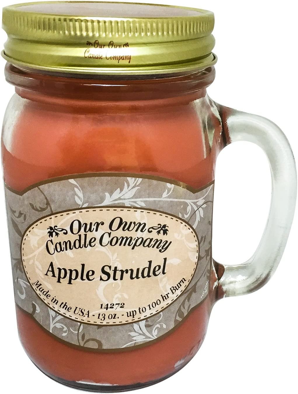 Our Own Candle Company Apple Strudel Scented 13 Ounce Mason Jar Candle