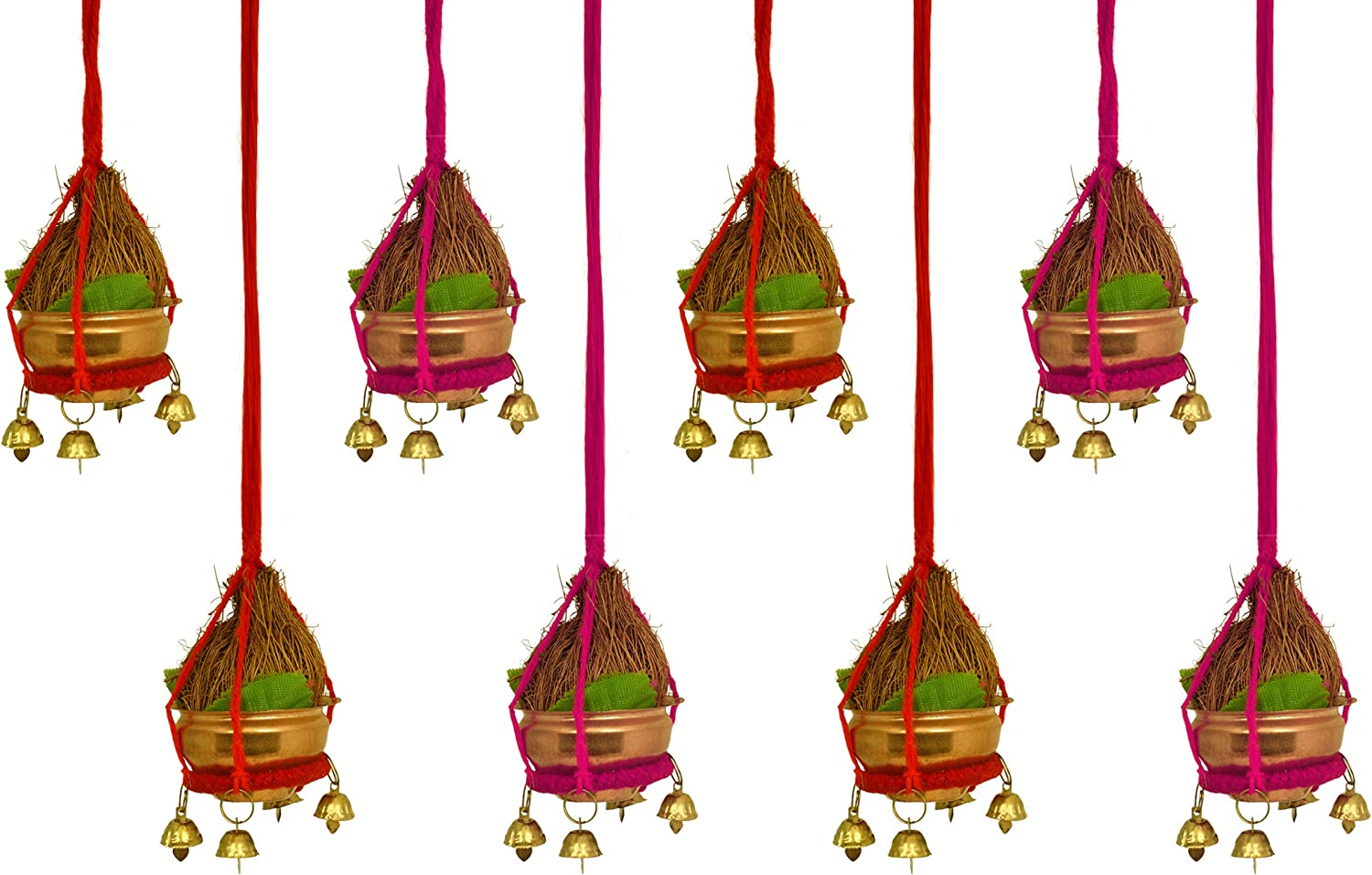 TIED RIBBONS Set of 8 Diwali Decorative Door and Wall Hanging for Home, Entrance Door, Mandir, Puja Room and Diwali Decoration Item