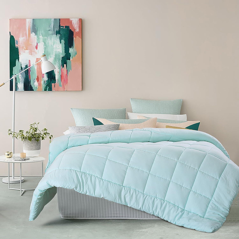 EVOLIVE All Season Pre Washed Soft Microfiber White Goose Down Alternative Comforter (Mint, Full/Queen)