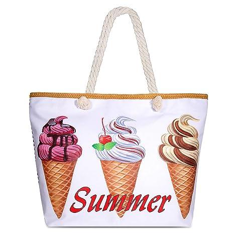 Comius Bolsa de Playa, Bolsa de Playa de Lona Mujer Grande Bolso de Mano Shopper Bolsa Bolsa De Verano (11)