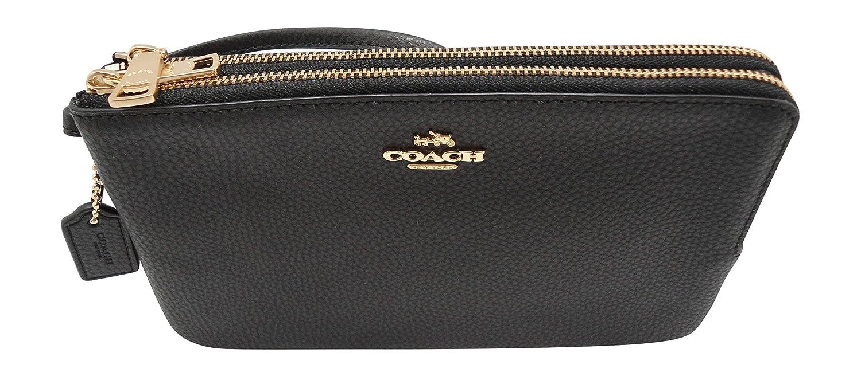 Coach F87587 Double Zip Pebble Leather Wristlet Wallet BLACK 00_ARBEBNRQ_02