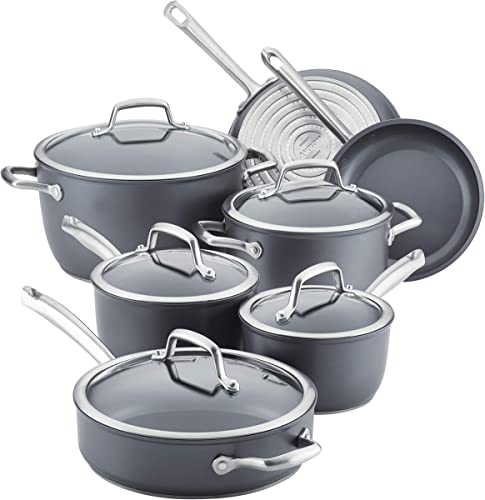 Anolon Accolade Hard-Anodized Precision Forge Cookware Set with Glass Lids