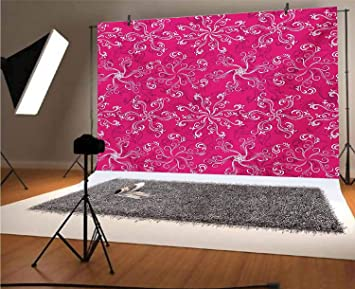 Pink 8x10 FT Photography Backdrop Vertical Hexagonal Shapes with Dots Inside Tied with Lines Geometric Vibrant Background for Baby Birthday Party Wedding Vinyl Studio Props Photography