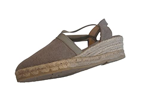 Zapatillas/Alpargatas/Mujer/Cuña de Esparto/Empeine Lona/Cuña 5cm/Taupe/Suela de Goma/Cierre Elástico/Talla 35: Amazon.es: Zapatos y complementos