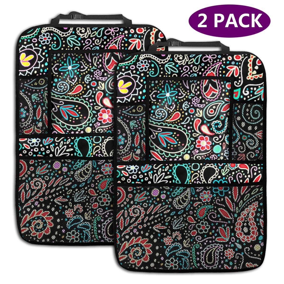 QF6FEICHAN Maker Blacklight Chalkboard Paisley Car Seat Back Protectors with Storage Pockets Kick Mats Accessories for Kids and Toddlers by QF6FEICHAN