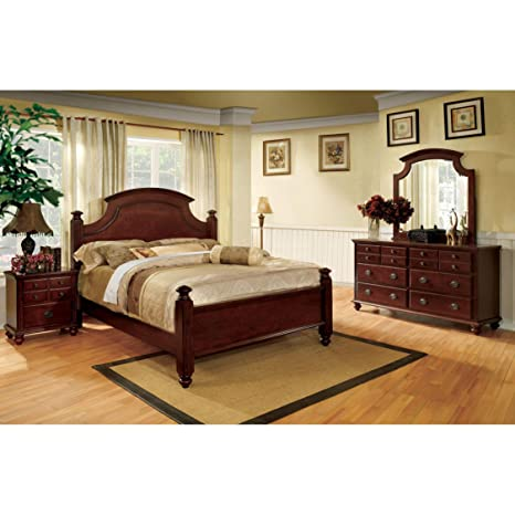 Furniture of America European Style 4-Piece Cherry Poster Bedroom Set King
