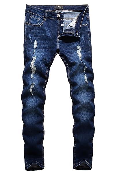 Uomo Skinny ZLZ Skinny Distrutto Jeans Strappato Afflitto Fit Uomo OuiPXZTk
