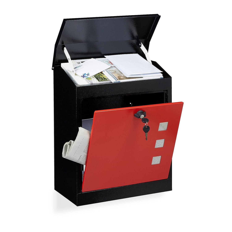 colore bianco-nero acciaio serratura lamina anti-prelievo Relaxdays Cassetta della posta postale da parete grande HxLxP: 53x43,5x26 cm