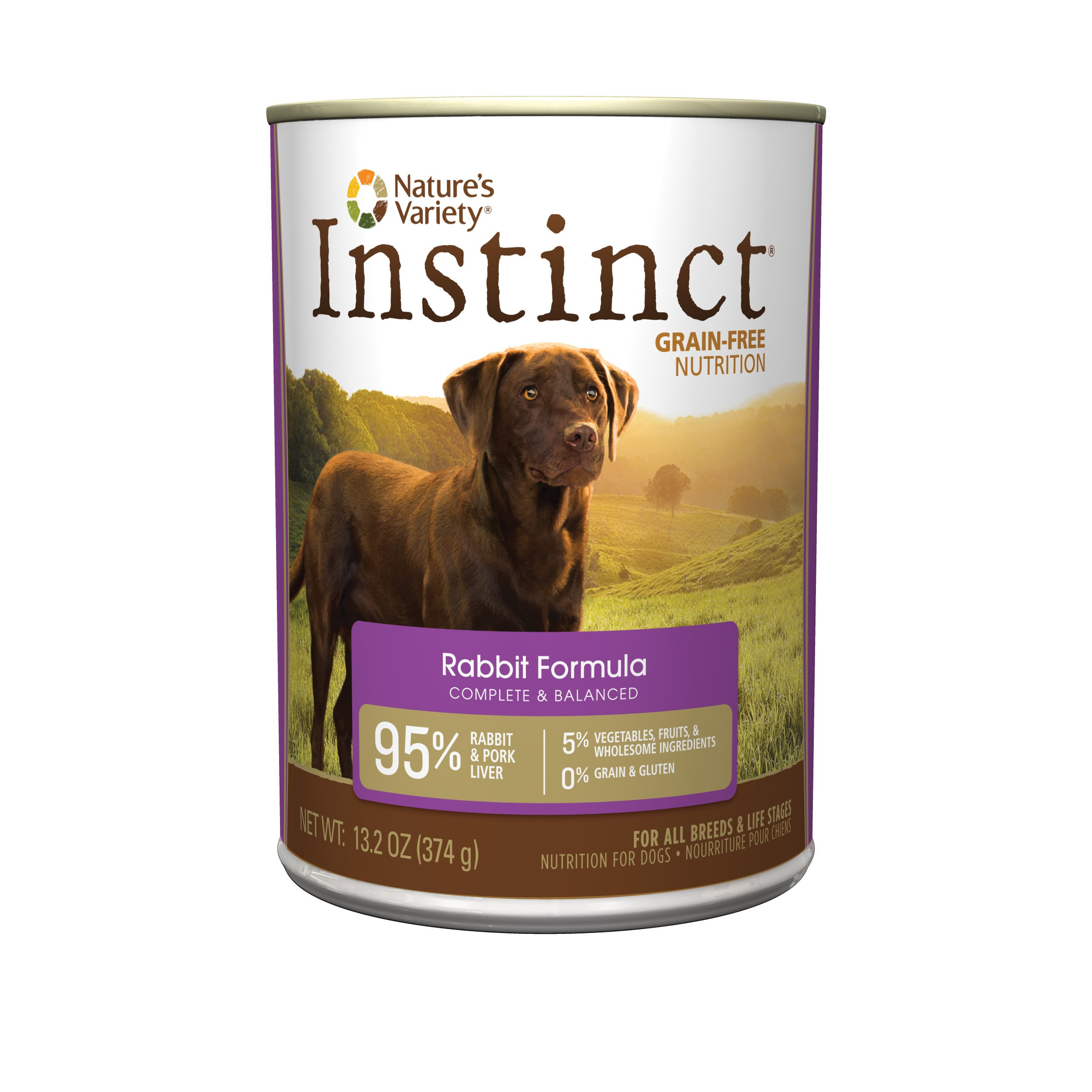 Instinct Grain Free Rabbit Formula Natural Wet Canned Dog Food by Nature's Variety, 13.2 oz. Cans (Case of 12)