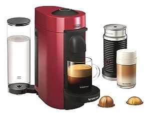 Nespresso VertuoPlus Coffee and Espresso Maker by De'Longhi with Aeroccino, Red