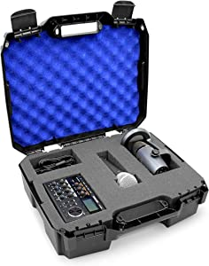 CASEMATIX 17 inch Mobile Podcast Station Travel Case Fits Mixers, Microphones, Laptops and Cables, Dual Customizable Foam Layers