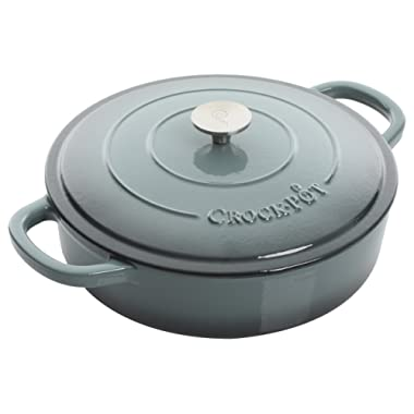 Crock Pot Artisan 5QT Enameled Cast Iron Braiser w/ Lid, Gray