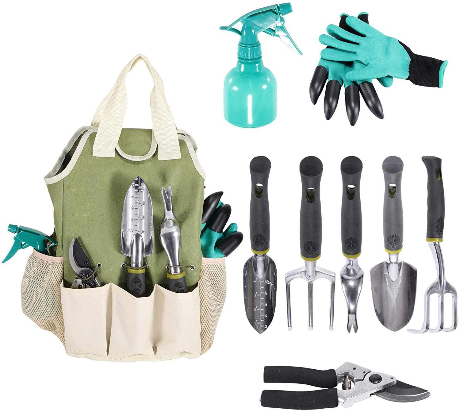 Garden Tools Set | Garden Tool Organizer Tote | Gardening Gloves Included Great Garden Tools for Woman and Men | 9 Piece Garden Accessories Tool Organizer Kit | Gardening Gifts | Gardeners Supply
