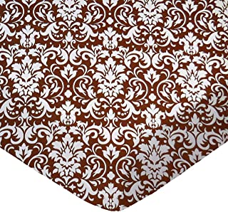 product image for SheetWorld Fitted Pack N Play (Graco) Sheet - Brown Damask - Made In USA
